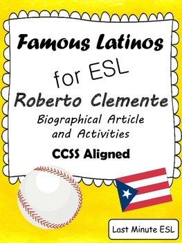 Roberto Clemente Biographical Article and Activities for E
