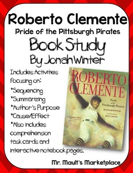 Roberto Clemente Book Study:Organizers and Interactive Notebook Pages