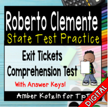 Roberto Clemente Comprehension Tickets - 3rd Grade Journeys Test Prep