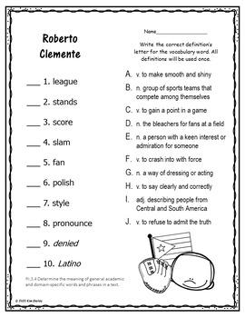 Roberto Clemente - Journeys G3 Lesson 5 QUIZZES
