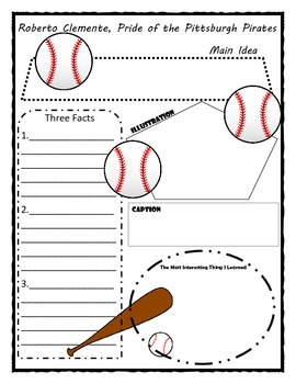Roberto Clemente, Pride of the Pittsburgh Pirates. Story Map Graphic Organizer