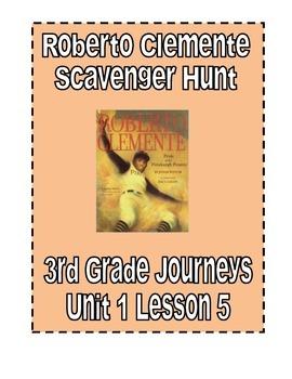 Roberto Clemente Scavenger Hunt, 3rd Grade Journeys, Unit 1, Lesson 5