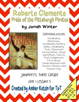 Roberto Clemente Mini Pack Activities 3rd Grade Journeys Unit 1