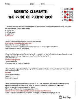 Roberto Clemente:  The Pride of Puerto Rico Informational Text Test Prep Reading