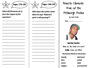 Roberto Clemente Trifold - Journeys 3rd Gr Unit 1 Wk 5 (2014, 2017 Common Core)
