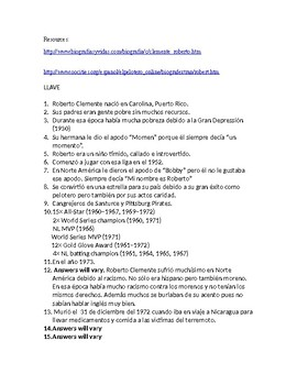 Roberto Clemente Web Quest in Spanish
