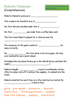 Roberto Clemente - Worksheet - Answer Key