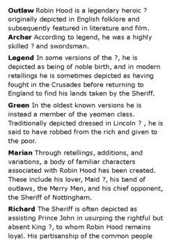 Robin Hood Crossword