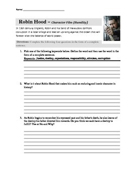 Robin Hood Movie Guide and Classroom Questions