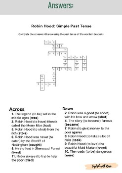 Robin Hood Simple Past Tense Crossword