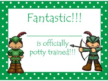 Robin Hood themed Daycare Health and Hygiene Potty Chart and Certificate
