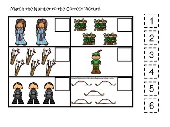Robin Hood themed Match the Number preschool printable learning game.