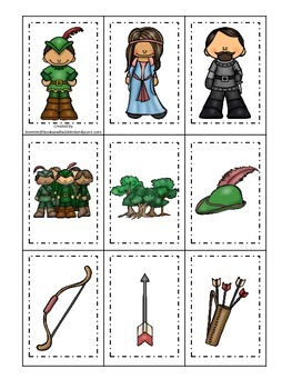Robin Hood themed Memory Matching preschool printable learning game.