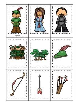 Robin Hood themed Memory Matching preschool printable learning game.