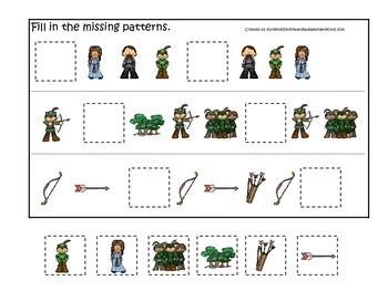 Robin Hood themed Missing Pattern preschool printable learning game.