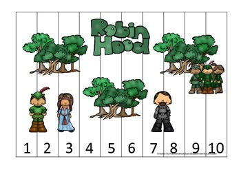Robin Hood themed Number Sequence Puzzle preschool printable learning game.