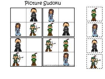 Robin Hood themed Picture Sudoku preschool printable learning game.