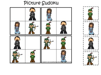 Robin Hood themed Picture Sudoku preschool printable learn