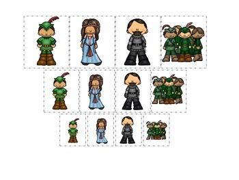 Robin Hood themed Size Sorting preschool printable learning game.