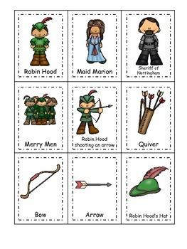 Robin Hood themed Three Part Matching preschool educational game.  Printable.