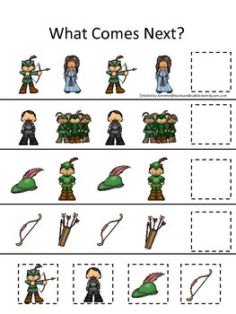Robin Hood themed What Comes Next preschool printable learning game.