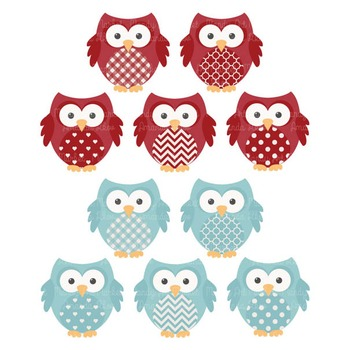 Robins Egg & Red Vector Owls & Paper - Baby Owl Clipart, Owl Clip Art, Baby Owls