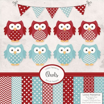 Robins Egg & Red Vector Owls & Paper - Baby Owl Clipart, O