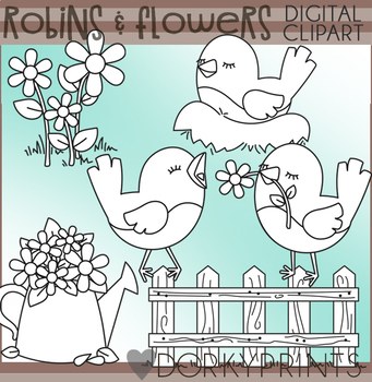 Robins and Flowers Blackline Clipart