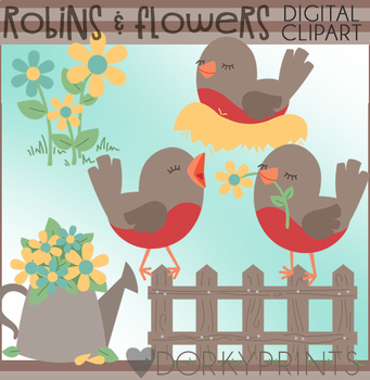 Robins and Flowers Clipart
