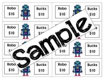 Robo Bucks )Classroom money) Robot theme