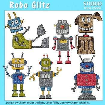 Robo Glitz Robot Glitter ClipArt C. Seslar