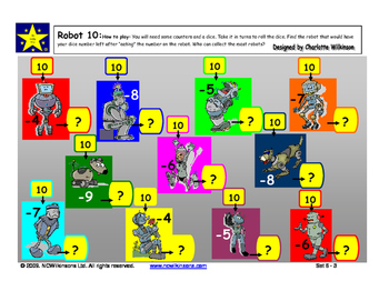 Robot 10 Game to practice subtraction from 10