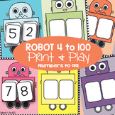 Place Value Game - Robot 4 to 100 - Math Center / Game