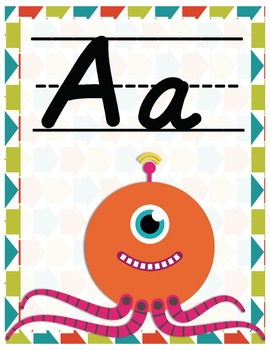 Robot Alphabet Posters in Print and Cursive