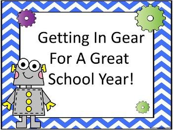 Robot Back To School Sign With Editable Cards