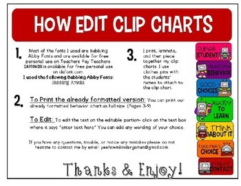 Robot Behavior Clip Chart-Editable