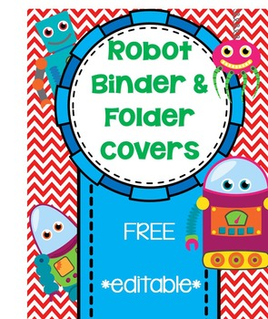 robot binder or folder cover page freebie by teaching with peace