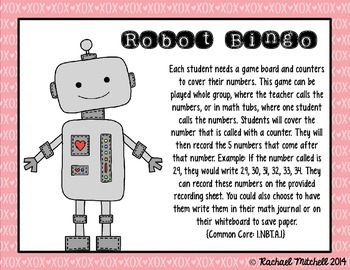 Robot Bingo- A Number Recognition Game- Aligned with 1st Grade Common Core