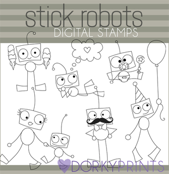 Robot Black Line Art