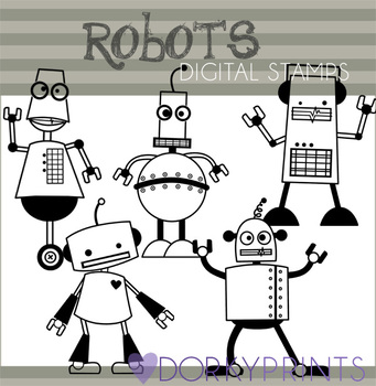 Robot Black Line Clip Art