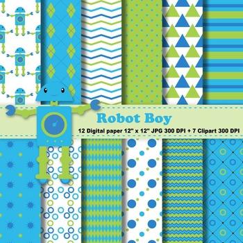 Robot Boy Digital Paper + Clipart
