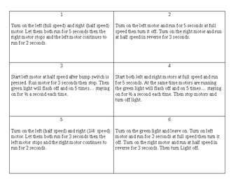 Robot C PLTW programming practical exam cards