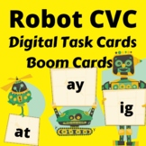 Robot CVC Digital Task Cards Word Families at, ay, ig (Dis