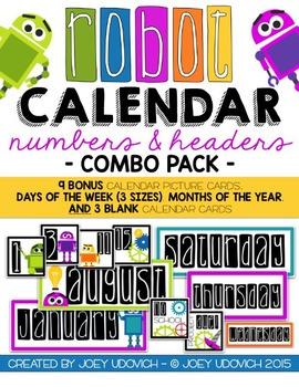 Robot Calendar Numbers & Headers COMBO PACK!