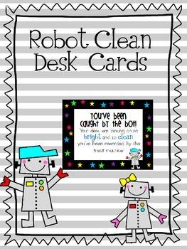 Robot Clean Desk Cards