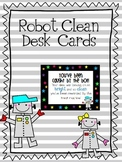Robot Clean Desk Cards