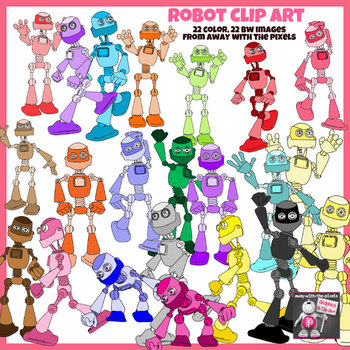 Robot Clip Art Color and Black and White Clipart Images for Teachers