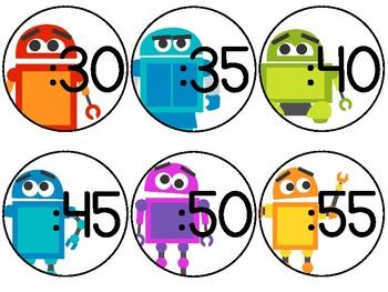 Robot Clock Labels