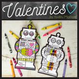 Robot Coloring Valentine Crayon Hugger
