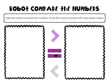 Robot Compare Numbers K.CC.6  Kindergarten Common Core Math Station